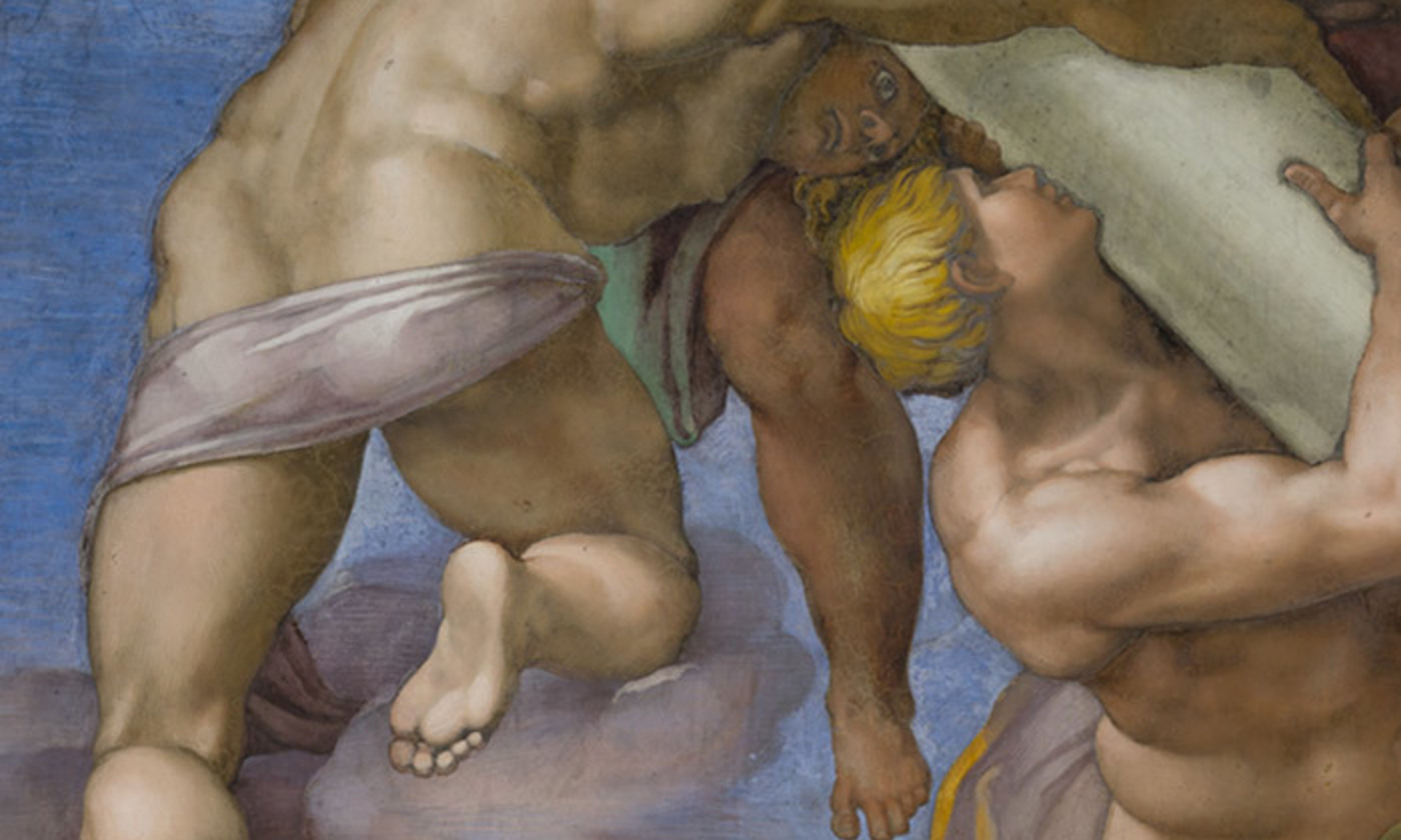 <p>Angel guiding a column, from <em>The Last Judgment</em> (1534-41) by Michelangelo. Sistine Chapel, Vatican Palace. <em>Courtesy Wikipedia</em></p>