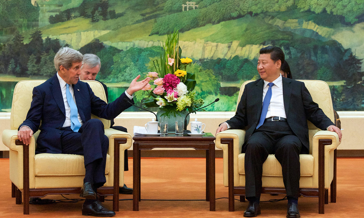 The so-called 'Thucydides Trap'? US Secretary of State John Kerry addresses Chinese President Xi Jinping, Beijing, 2015. <em>Courtesy US State Department/Flickr</em>