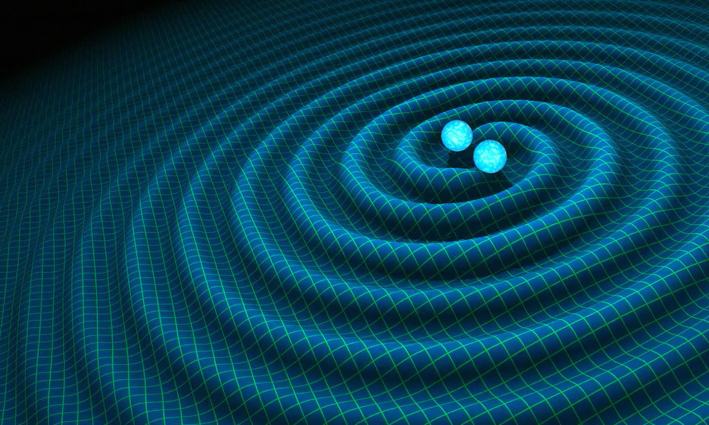 An artist's impression of gravitational waves generated by binary neutron stars. <em>R. Hurt/Caltech-JPL</em>