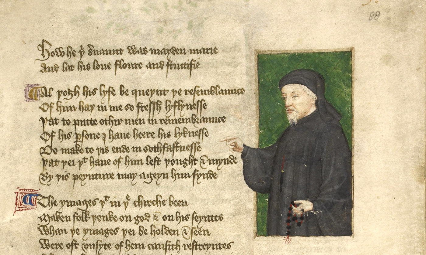 <p>A portrait of Geoffrey Chaucer from <em>the Regiment of Princes</em>, <em>c1400-</em>1450. <em>Courtesy the British Library</em></p>