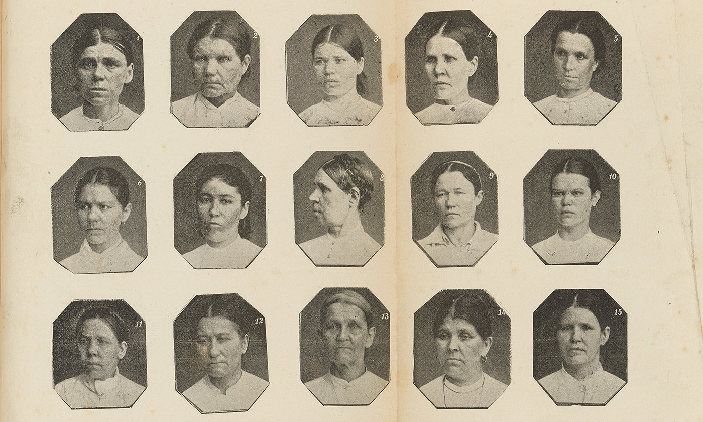 <p>Physiognomies of Russian criminals from <em>The Delinquent Woman</em> (1893) by Cesare Lombroso. <em>Courtesy the Wellcome Collection</em></p>