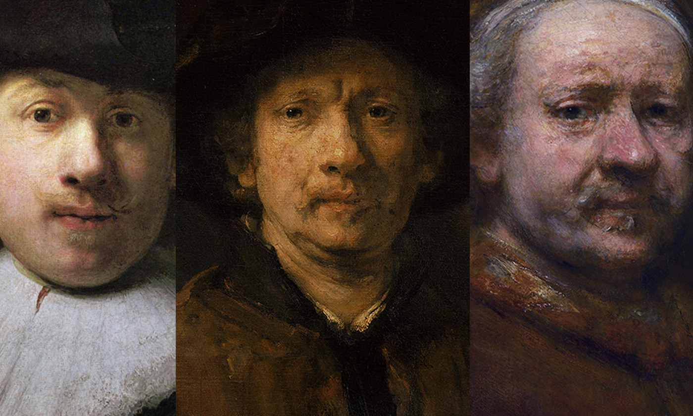 <p>Three self-portraits by Rembrandt van Rijn: at 26; at 46; at 63. <em>Courtesy Wikimedia.</em></p>
