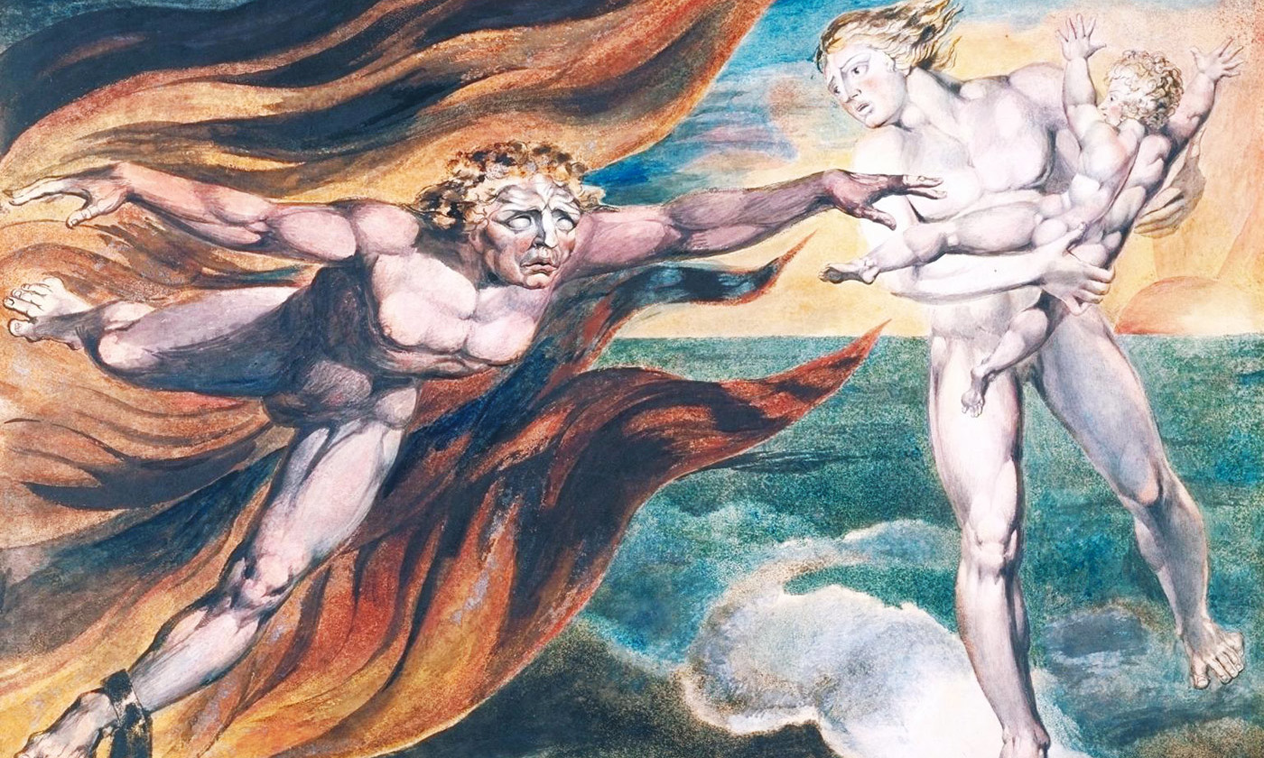 <p>William Blake, <em>The Good and Evil Angels</em> 1795–c.1805. CC-BY-NC-ND © Tate</p>