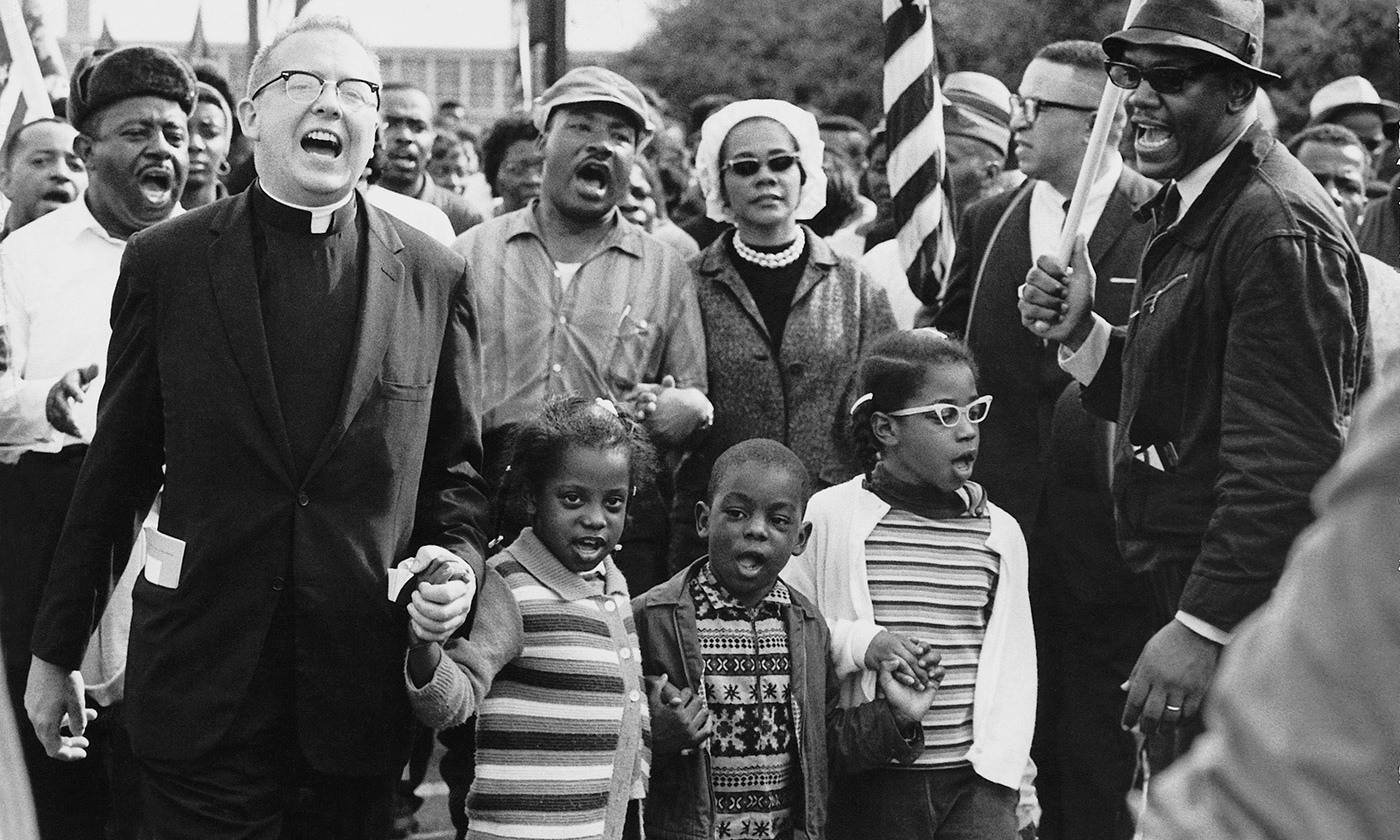 <p>Dr Martin Luther King, Dr Ralph David Abernathy, their families, and others leading the Selma to Montgomery march in 1965. <em>Courtesy Wikipedia</em></p>