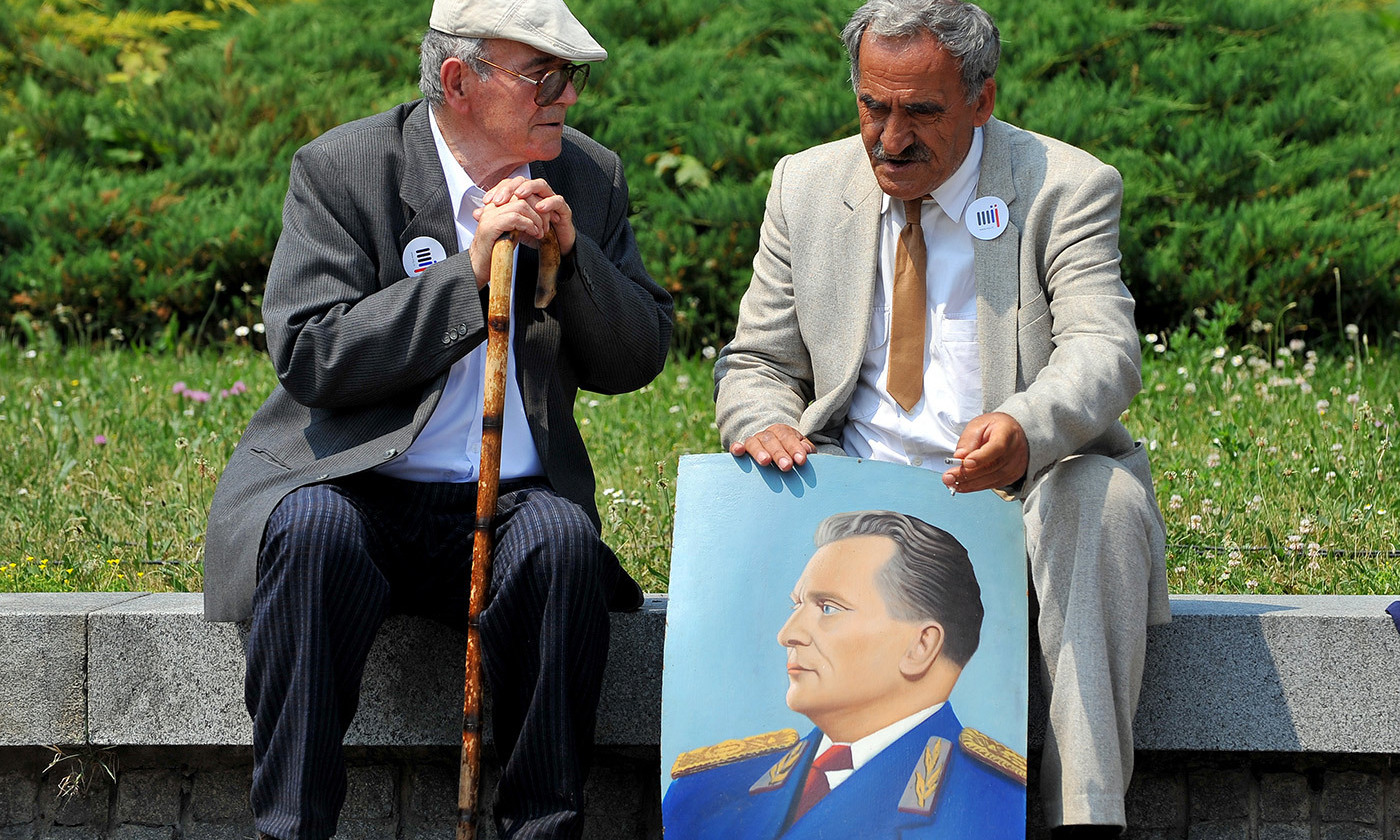 <p>Admirers of Josip Broz Tito from all over the former Yugoslavia convene in Belgrade on the occasion of the late marshal's birthday. <em>Photo by Andrej Isakovic/AFP/Getty</em></p>
