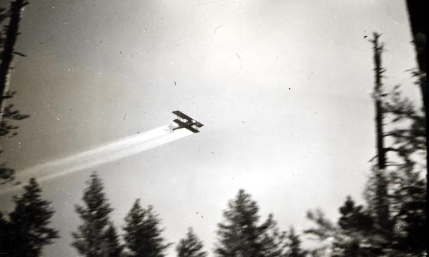 <p>DDT spraying over spruce forest in the Kinzua area, Oregon, United States, in 1948. <em>Photo by CB Eaton/USDA Forest Service/Wikimedia</em></p>