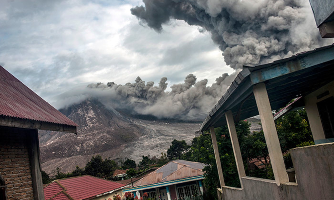 <p>Pyroclastic activity at Mount Sinabung, on 24 June 2016 in Karo, Indonesia. <em>Photo by Getty Images</em></p>