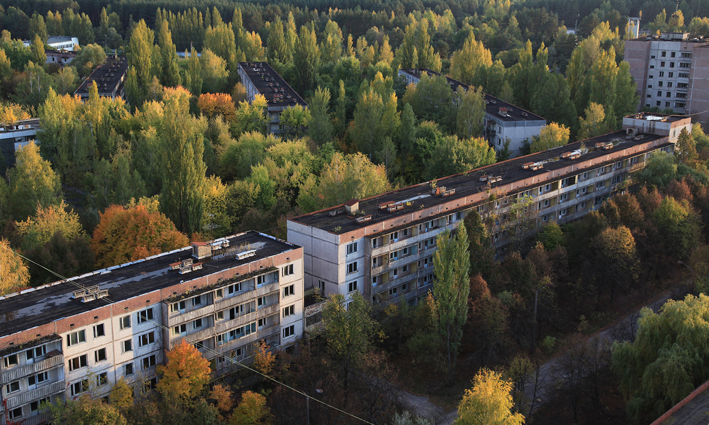Abandoned homes in Pripyat, 2km from Chernobyl. <em>Photo by Dana Sacchetti/IAEA Imagebank</em>