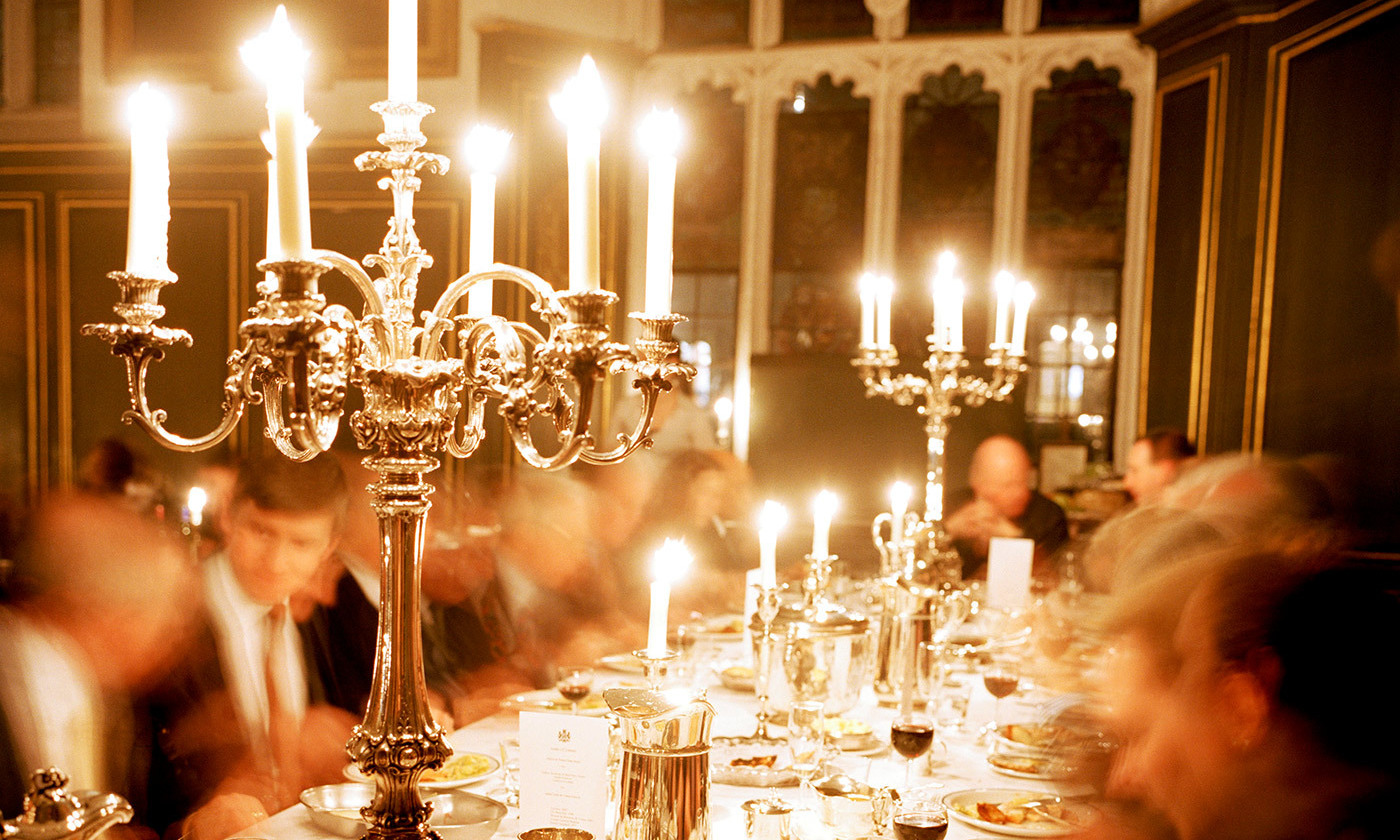 <p>A formal dinner at Magdalene College, Cambridge. <em>Photo by Martin Parr/Magnum</em></p>