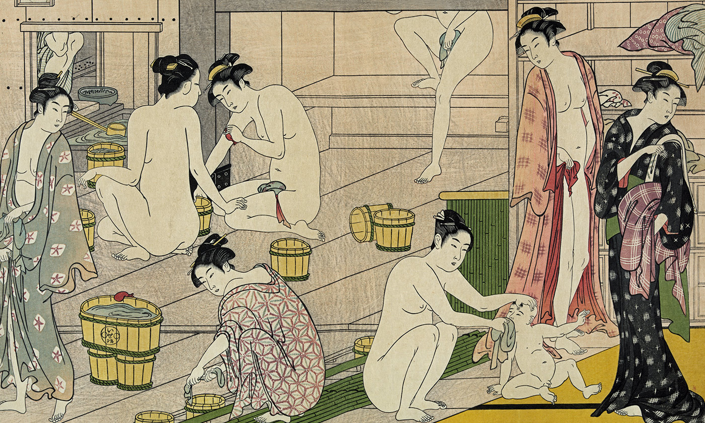 <p>Detail from <em>Bathhouse Women</em> by Torii Kiyonaga, 1752-1815. <em>Library of Congress</em></p>