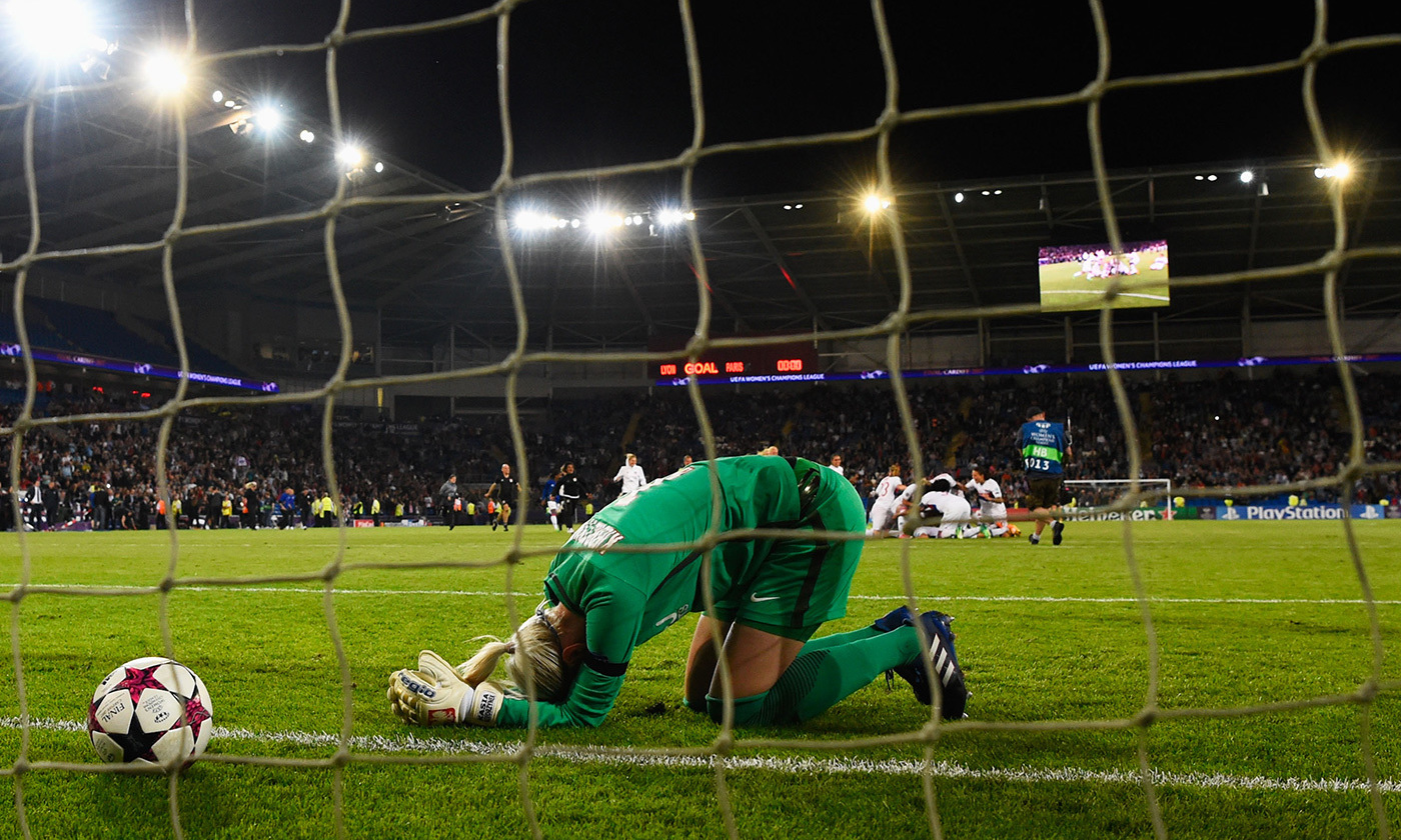 <p>Goalkeeper Katarzyna Kiedrzynek's team Paris Saint-Germain loses to Lyon in the Women's Champions League final on 1 June 2017. <em>Photo by Stu Forster/Getty</em></p>