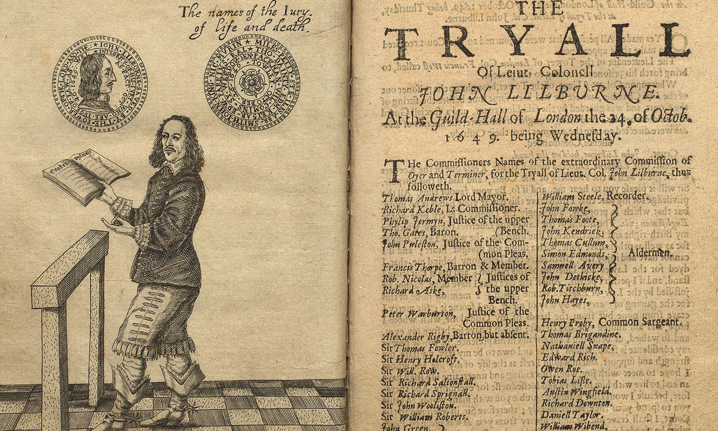 <p>John Lilburne, reading from Coke's <em>Institutes of the Lawes of England</em> (1628-44) at his trial for high treason in 1649<em>. Photo courtesy The British Library/Public Domain</em></p>