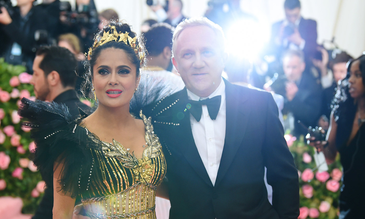 <p>François-Henri Pinault and Salma Hayek attend the 2019 Met Gala. <em>Photo by Dimitrios Kambouris/Getty Images</em></p>