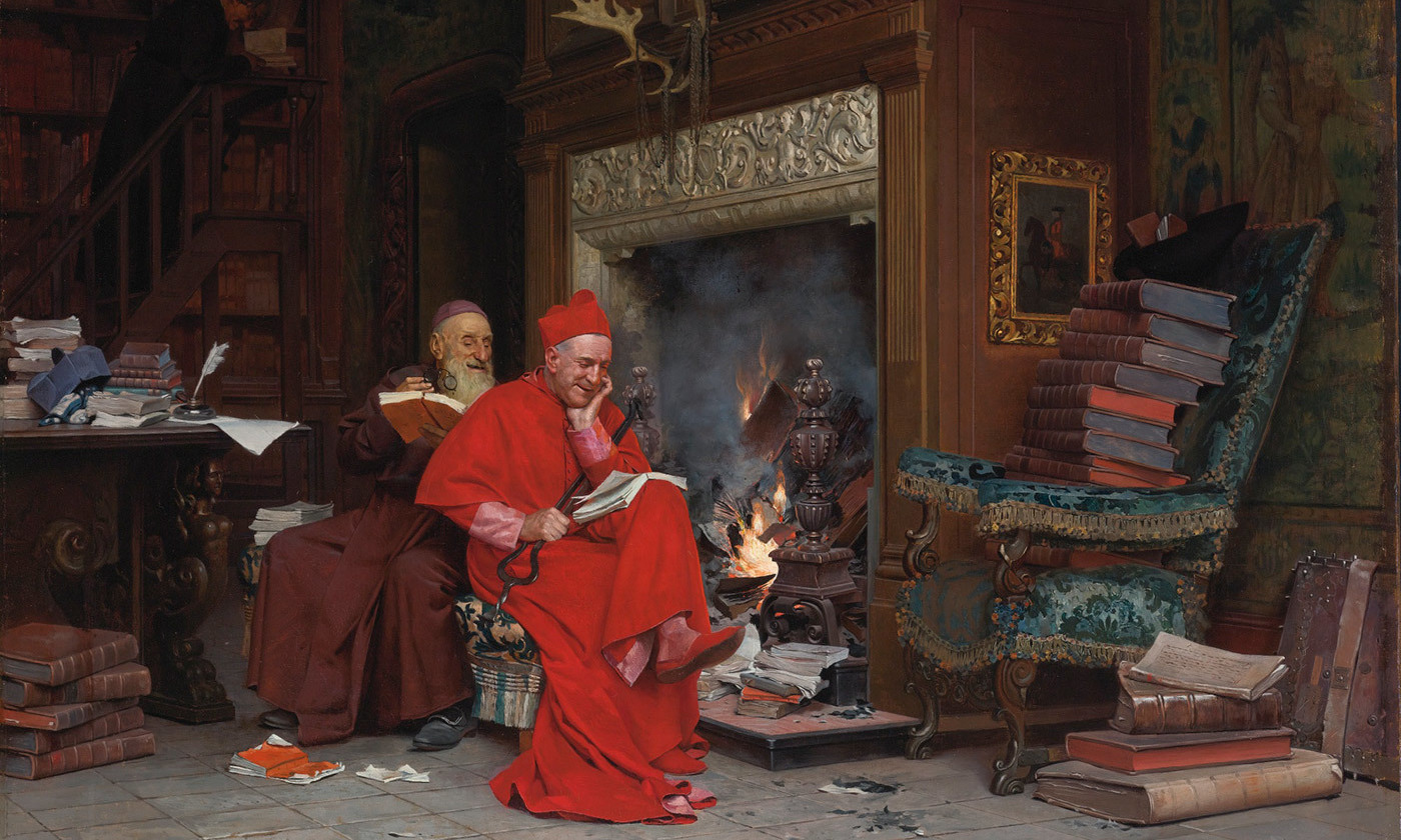 <p><em>The Committee on Moral Books</em> (1866) by Jehan-Georges Vibert. <em>Courtesy Wikipedia</em></p>