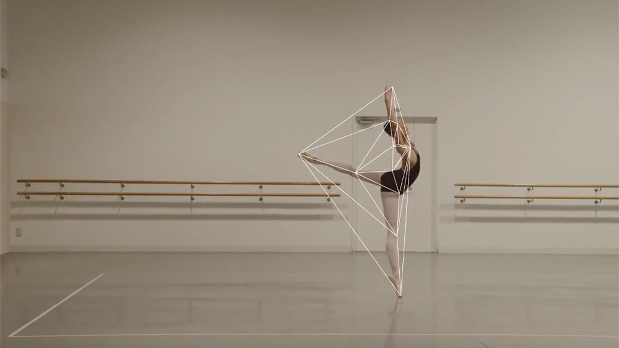 A ballerina dances with the geometry of her own movements