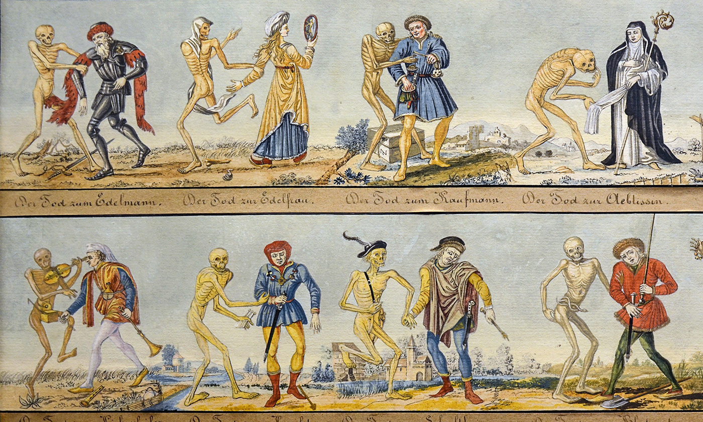 <p>Detail from the <em>Dance with Death</em> by Johann Rudolf Feyerabend. <em>Courtesy the Basel Historical Museum, Switzerland/Wikipedia</em></p>