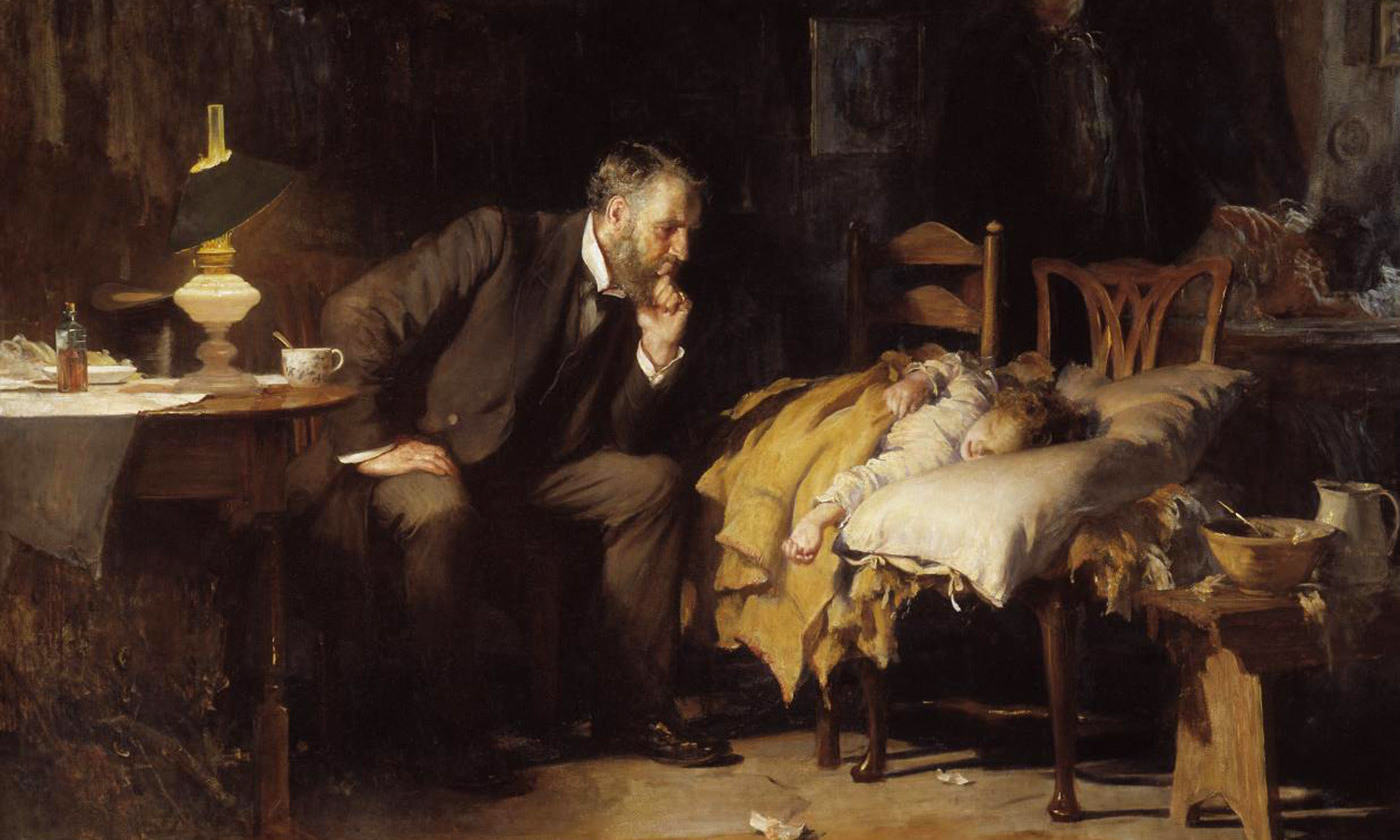 Detail from <em>The Doctor</em> (1891) by Luke Fides. <em>Photo courtesy Wikipedia</em>