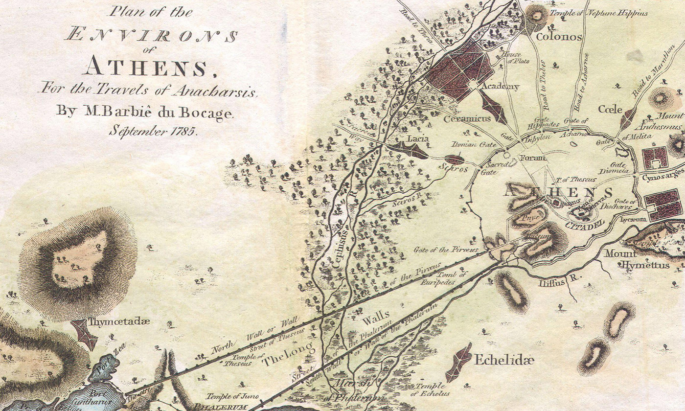 <p>Detail from the Bocage map of 1784 depicting Ancient Athens. <em>Photo courtesy Wikipedia</em></p>