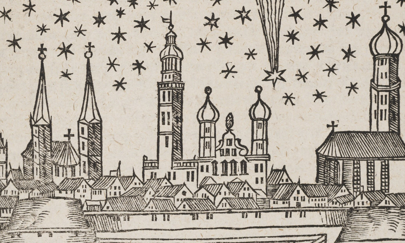 <p>Telling-tales; a comet above Augsburg in 1618. <em>Courtesy Wikipedia</em></p>