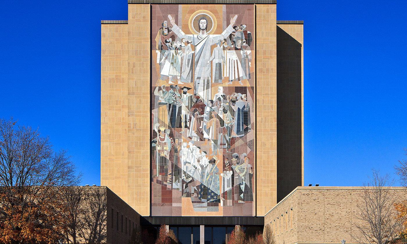 <p>'The Word of Life' mural, otherwise known as the 'Touchdown Jesus', at the Hesburgh Library, Notre Dame University. <em>Photo courtesy Wikipedia</em></p>