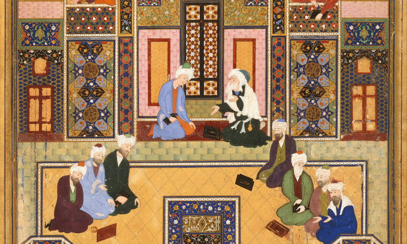 Detail from 'The Meeting of the Theologians' by Abd Allah Musawwir, mid-16th century. <em>Courtesy Wikipedia</em>.