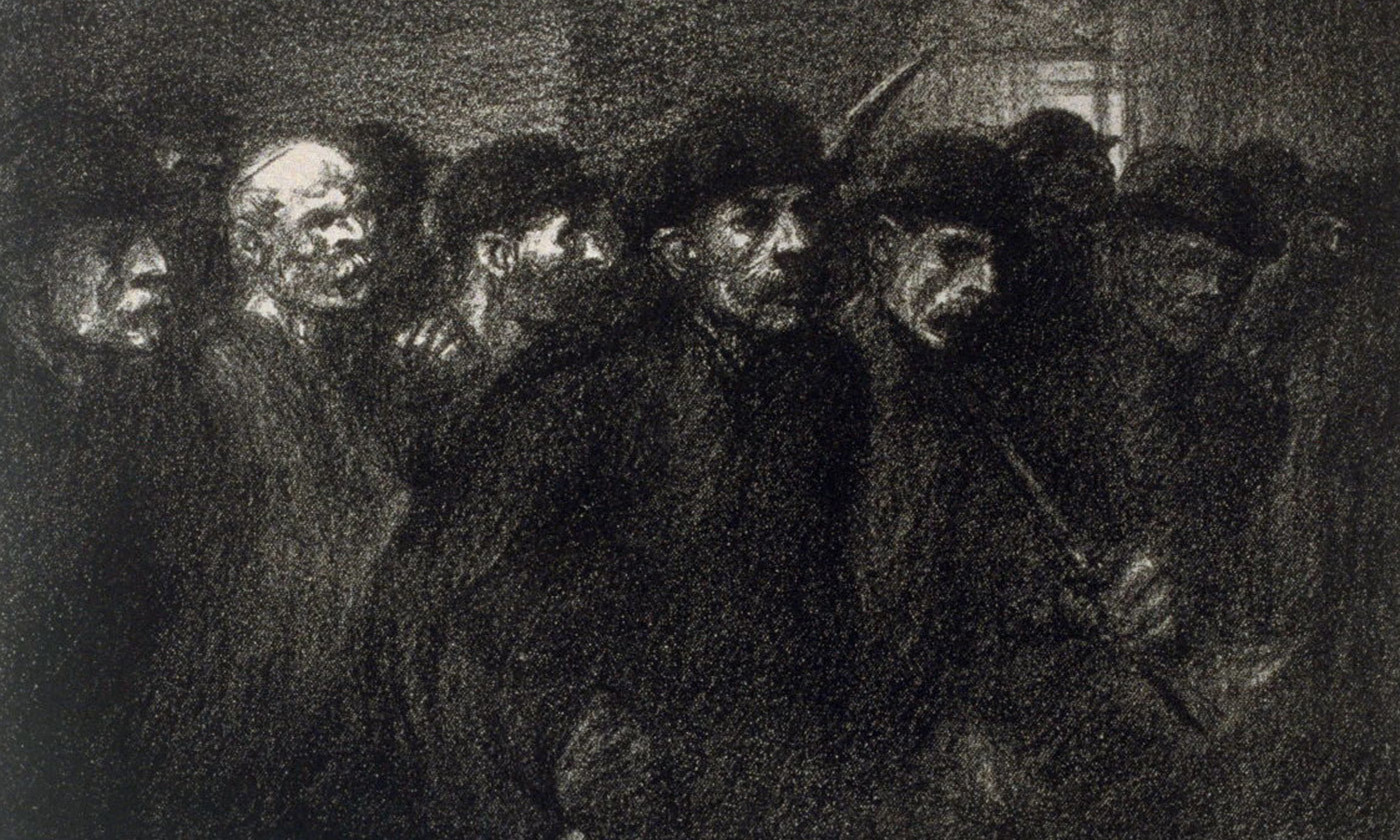 <p><em>Workers Leaving the Factory</em> Lithograph, 1903 by Théophile Alexandre Steinlen. <em>Image courtesy www.famsf.org </em></p>
