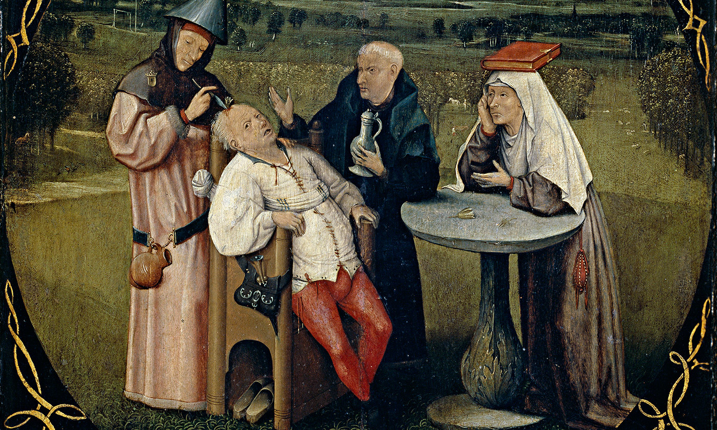 <p>Detail from <em>Extracting the Stone of Madness</em> by Hieronymus Bosch, Prado Museum/Wikimedia</p>