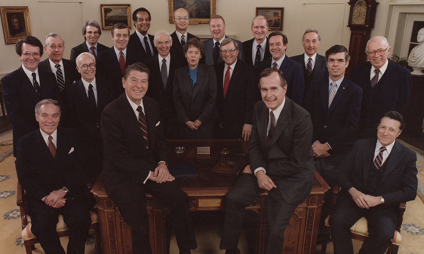<p>Pinoeering anti-bureaucracy: The Reagan cabinet of 1981. <em>Photo Wikipedia</em></p>