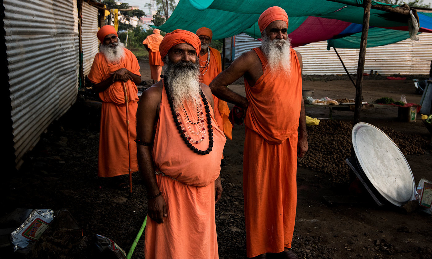 Holy Men attending the Hindu festival of Kumbh Mela in Nashik, India. <em>Photo by David Baxendale/Flickr</em>