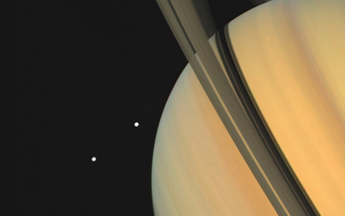 Card saturn with tethys and dione