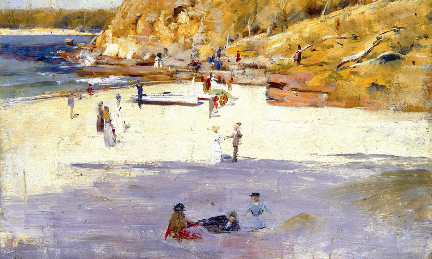 <em>Manly Beach</em> (1895) by Arthur Streeton. <em>Courtesy Bendigo Art Gallery/Wikipedia</em>