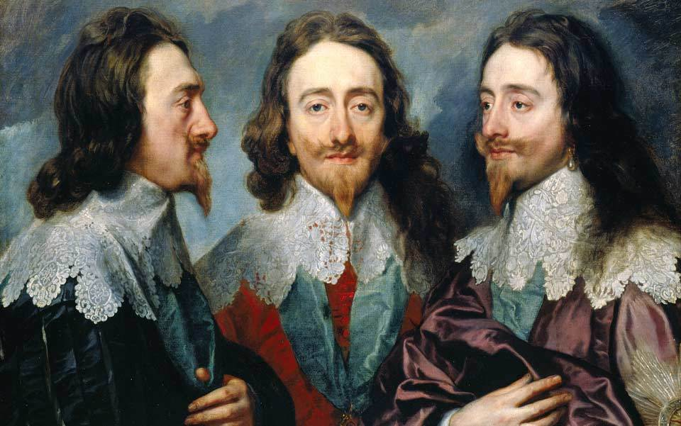 Vain, moi? Charles I in Three Positions by Anthony Van Dyck, held in the Royal Collection. Photo courtesy Wikimedia