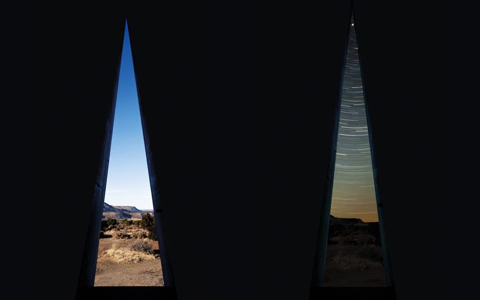 The view from the 'hour chamber' at Star Axis, in daylight and after dark. Photo courtesy of Charles Ross